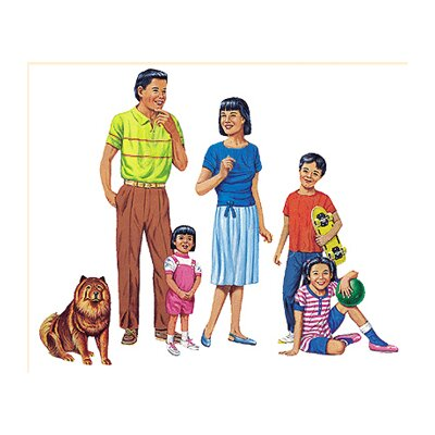 Little Folks Visuals Asian Family Bulletin Board Cut Out Set