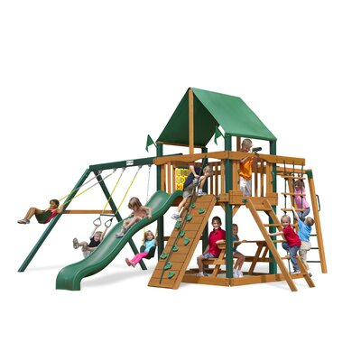 Navigator Swing Set with Green Vinyl Canopy by Gorilla Playsets
