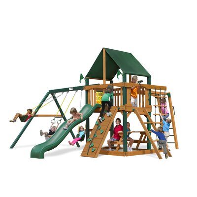 Navigator Swing Set with Canvas Green Sunbrella Canopy by Gorilla Playsets