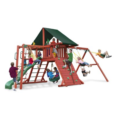 Sun Climber II Swing Set with Canvas Green Sunbrella Canopy Product Photo