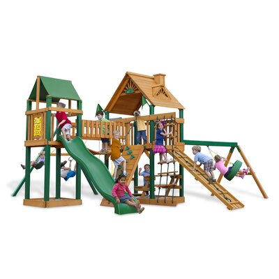 Pioneer Peak Swing Set with Wood Roof Canopy Product Photo