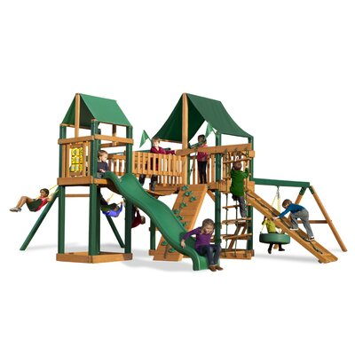 Pioneer Peak with Amber Posts and Canopy Cedar Swing Set Product Photo
