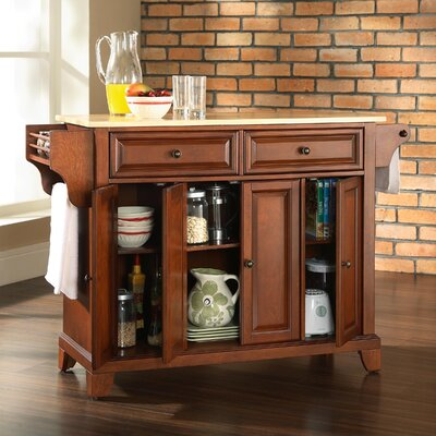 Natural wood table top view crosley furniture natural wood - Crosley Lafayette Kitchen Island Amp Reviews Wayfair