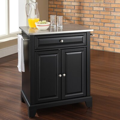 Newport Kitchen Cart with Stainless Steel Top Product Photo