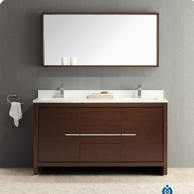"Allier 60"" Double Modern Bathroom Vanity Set with Mirror Product Photo"