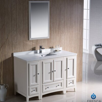 "Oxford 48"" Single Traditional Bathroom Vanity Set with Mirror Product Photo"