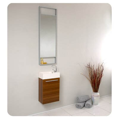 "Senza 16"" Single Pulito Small Modern Bathroom Vanity Set with Mirror Product Photo"