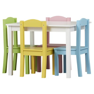 Tot Tutors Kids 5 Piece Wood Table and Chair Set