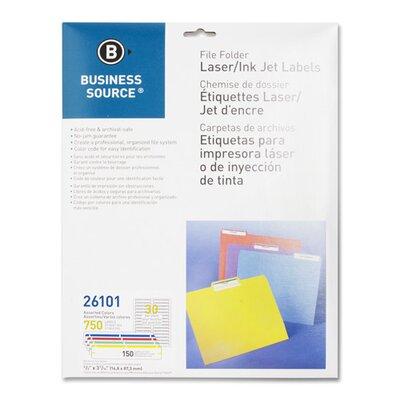 Business Source Label, File Folder, Laser/Inkjet, 1500 per Pack, Yellow