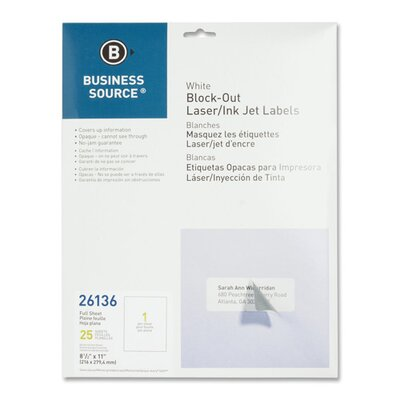 Business Source Block-Out Labels, Full Sheet, 25 per Pack, White