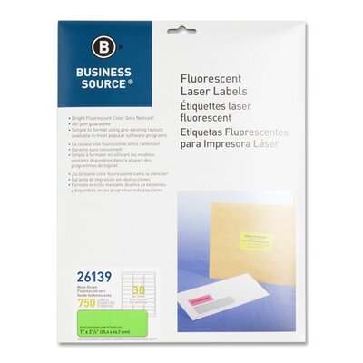 "Business Source Laser Labels, Fluorescent, 1""x2-5/8"", 750 per Pack, Neon Green"
