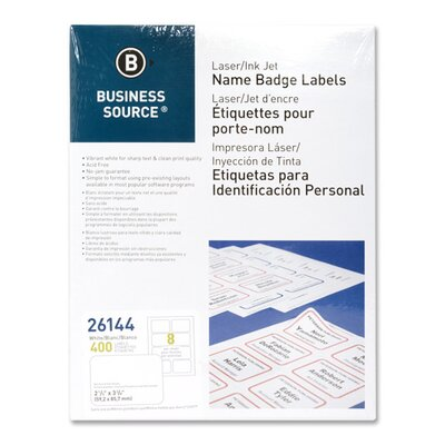 "Business Source Name Badge, Laser, 2-1/3""x3-3/8"", 400 per Pack, White/Red"