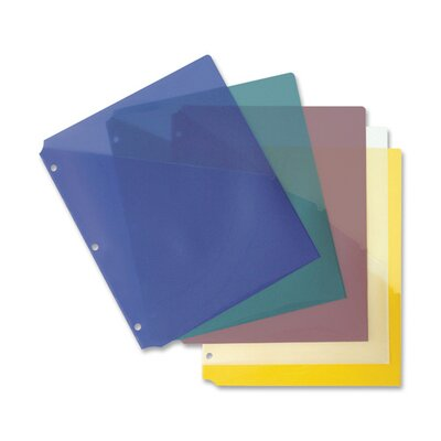 Business Source Binder Pockets, Poly, H/20 Shts, 5 per Pack, Clear