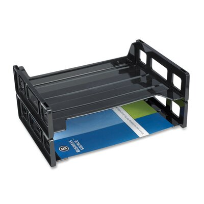 Business Source Stacking Tray, Side Load, Letter, Smoke