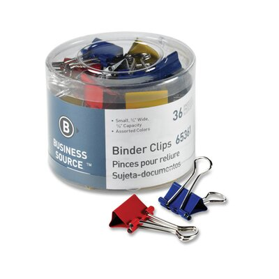 """Business Source Binder Clips, Medium 1-1/4""""W, 5/8"""" Capacity, 24 per Pack, Assorted"""