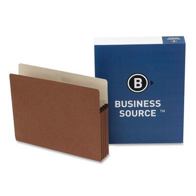 "Business Source File Pocket, 1-3/4"" Exp., Letter, 25 per Box, Redrope"