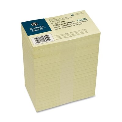 "Business Source Adhesive Note Pads, Pop-up, 3""x5"", 100 Sheets, 18 per Pack, Yellow"