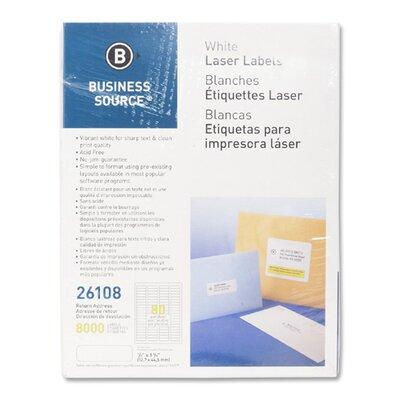 "Business Source Mailing Labels,Return Address,Laser,1/2""x1-3/4"",8000 per Pack,White"