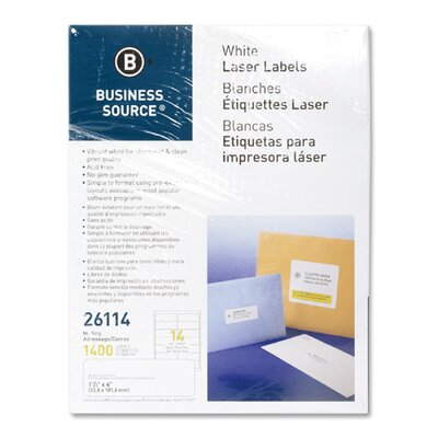 "Business Source Mailing Labels, Laser, 1-1/3x4"", 1400 per Pack, White"