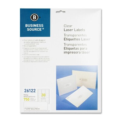 """Business Source Mailing Labels, Laser, 1""""x2-3/4"""", 750 per Pack, Clear"""