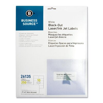"Business Source Block-Out Labels, Shipping, 2""x4"", 250 per Pack, White"