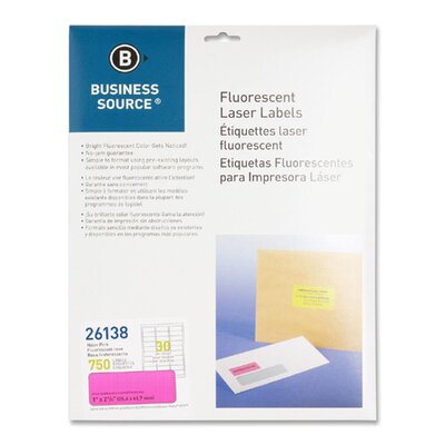 "Business Source Laser Labels, Fluorescent, 1""x2-5/8"", 750 per Pack, Neon Pink"