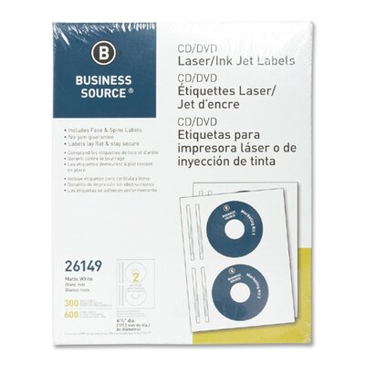 Business Source CD/DVD Labels, Laser/inkjet, 300 per Pack, White