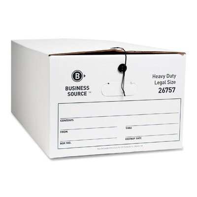 Business Source Storage Box, Legal, White, 12-Pack