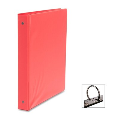 "Business Source Round Ring Binder, w/ Pockets, 1"", Red"