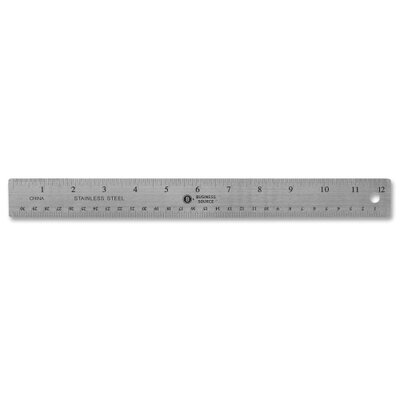 "Business Source Stainless Steel Ruler, 12"" L, Nonksid, Silver"