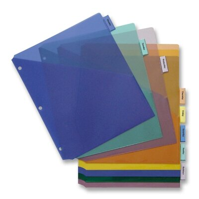 Business Source Poly Index Dividers, Double Pocket, 8-Tab, Multi