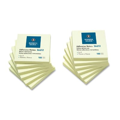 """Business Source Adhesive Note, Repositionable, 3"""" x 3"""", Yellow, 12 per Pack"""