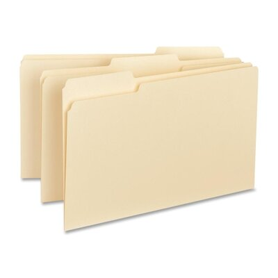 Business Source Interior File Folders, 1/3 Cut Assorted, Legal, 100 per Box, Manila