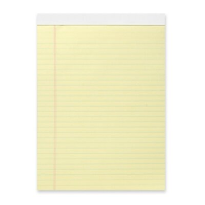 Business Source Micro-Perforated Pad, Legal Ruled, 50 Sheets, Letter, Canary, 12-Pack