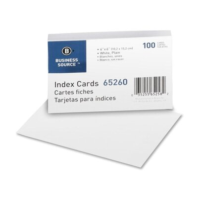 "Business Source Index Cards, Plain, 90lb., 4""x6"", 100 per Pack, White"