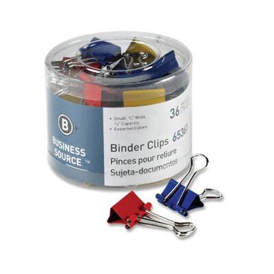 "Business Source Binder Clips, Small 3/4""W, 3/8"" Capacity, 36 per Pack, Assorted"
