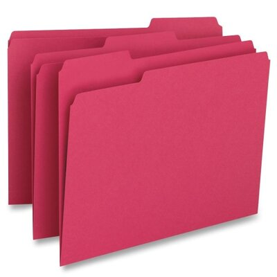 Business Source File Folder,1-Ply, 1/3 Cut Assorted Tabs, Letter, 100 per Box, Red