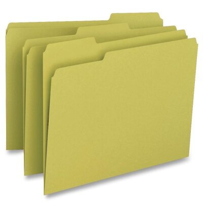 Business Source File Folder, 1-Ply, 1/3 Cut Assorted Tabs, Letter, 100 per Box, Yellow