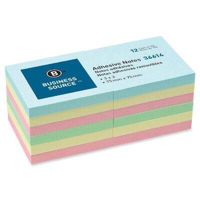 """Business Source Adhesive Note, Repositionable, 3"""" x 3"""", Assorted, 12 per Pack"""