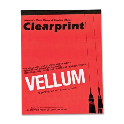 "ClearPrint Translucent Vellum, 16 lb., 8-1/2""x11"", 50 Sheets, Translucent"
