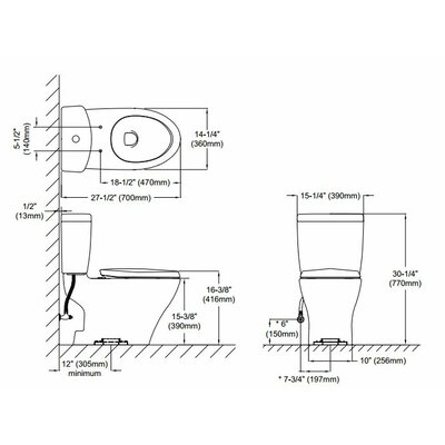Toto Aquia II Dual Flush 1.6 GPF / 0.9 GPF Elongated 2 Piece Toilet