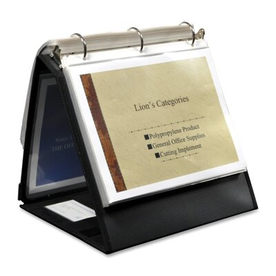 "Lion Office Products Ring Binder Easel, 1-1/2"" Cap, Horizontal, Black"