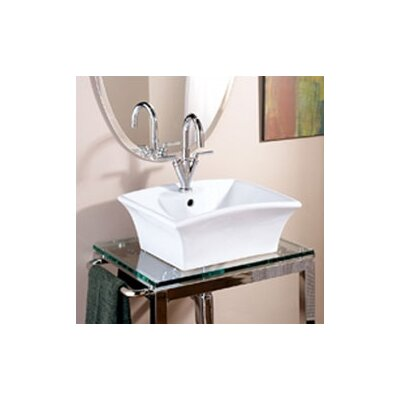 Classically Redefined Rectangular Ceramic Vessel Bathroom Sink with Overflow Product Photo