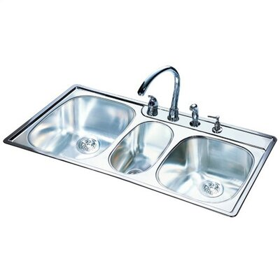 Frankeusa 43 X 22 18 Gauge Triple Bowl Kitchen Sink Reviews Wayfair