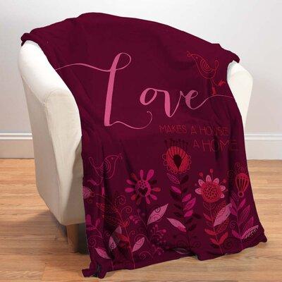 Love in Magenta Fleece Throw Blanket by Checkerboard