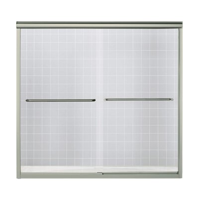 "Finesse 58.06"" x 59.63"" Sliding Frameless Bath Door with Clear Glass Product Photo"