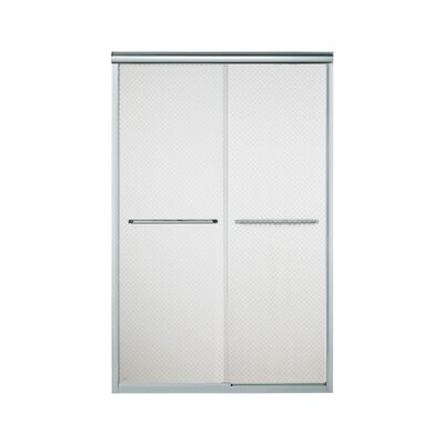 "Finesse 70.06"" x 47.63"" Sliding Frameless Shower Door with Cirkette Glass Product Photo"