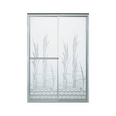 "Deluxe 70"" x 59.38"" Sliding Shower Door with Creekside Glass Product Photo"