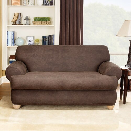 sure fit stretch leather two piece sofa t cushion. Black Bedroom Furniture Sets. Home Design Ideas