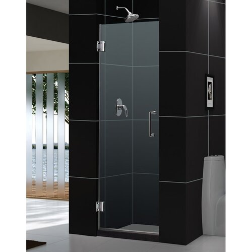 Clear Glass Hinged Shower Door : Dreamline unidoor quot pivot frameless hinged shower